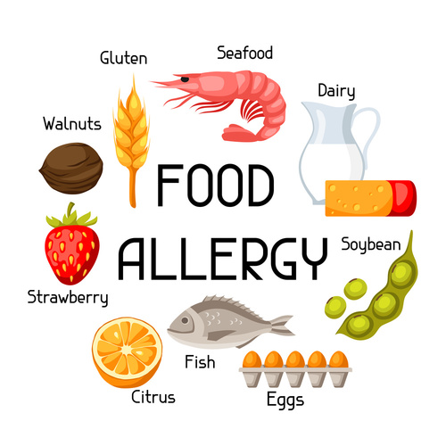 Food allergy background with allergens and symbols. Vector illus